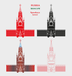 spasskaya tower of the moscow kremlin in four vector image vector image