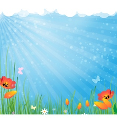 Sun and flowers vector image