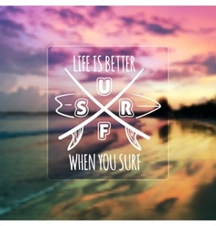 Surfing typographic design on blurred photo vector