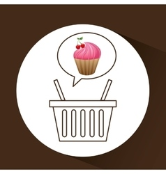 Sweet cupcake basket vector