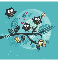 Three crazy owls on the brunch vector image