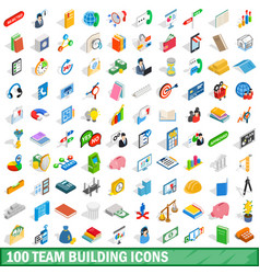 100 team building icons set isometric 3d style vector image vector image