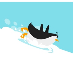 Flat style of penguin sliding on the glacier vector