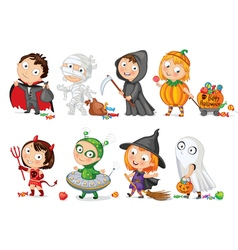 Happy halloween funny little children in colorful vector
