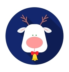 Christmas reindeer with red nose icon in flat vector