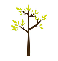 color silhouette with green tree growing vector image