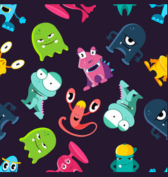 Ugly but cute funny monsters seamless vector