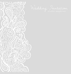 white linen floral brocade card vector image