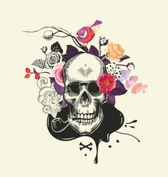 Human skull drawn in etching style with smoking vector