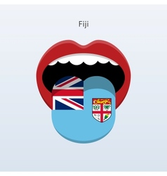 Fiji language abstract human tongue vector