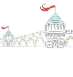Walls and towers of a medieval castle vector