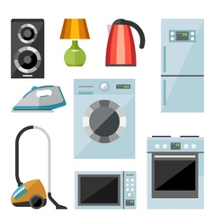 Set of household appliances flat icons vector