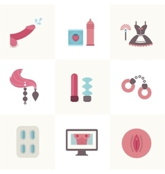 sex related set of flat icons vector image