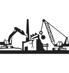 Demolition of industrial buildings vector