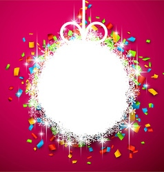 Christmas ball on confetti vector