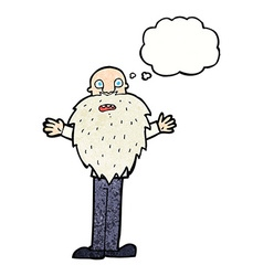 Cartoon bearded old man with thought bubble vector