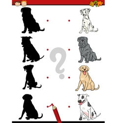 Preschool shadow task with dogs vector