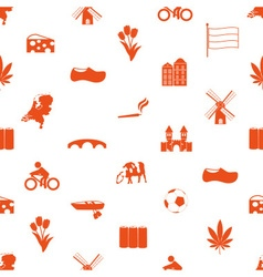 Netherlands country theme icons set seamless vector