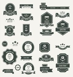 Label and ribbon template design set black color vector