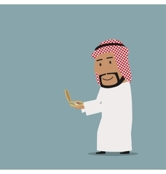 Arab businessman stepping onto compass to success vector