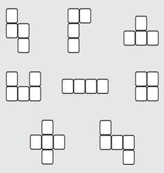 Tetris element set linear design vector image
