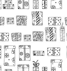 Seamless texture gift boxes vector