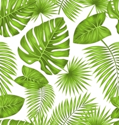 Seamless texture with green tropical leaves vector
