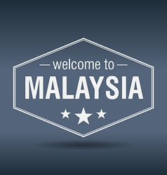 Welcome to malaysia hexagonal white vintage label vector