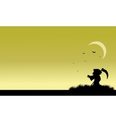 Silhouette of warlock and bat halloween vector