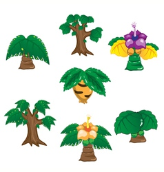 Ancient trees cartoon on white background vector image vector image