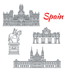 architecture of spain buildings icons vector image