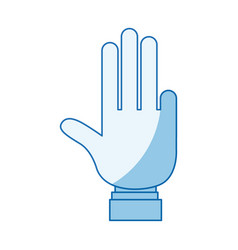 Blue color shading silhouette hand showing four vector