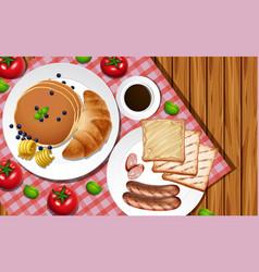 Breakfast set on wooden table vector