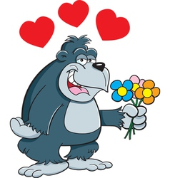 Cartoon Gorilla with Flowers vector image