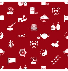China theme icons white and red seamless pattern vector