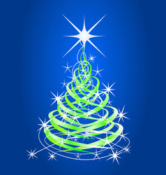 christmas tree blue background with stars vector image vector image