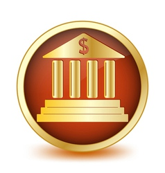 Circle button with symbol of the bank inside vector image