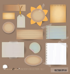 Collection of various note papers vector image vector image