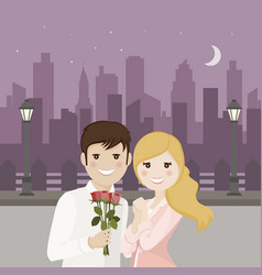 couple of lovers on a romantic date with night vector image vector image