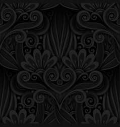 dark seamless pattern with floral ornament vector image vector image