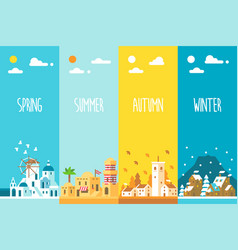 flat design 4 seasons background vector image vector image