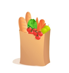 Full paper bag with food in cartoon style vector image