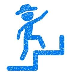 Gentleman steps upstairs grainy texture icon vector