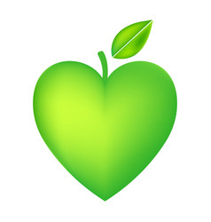 green apple heart isolated on white background vector image vector image