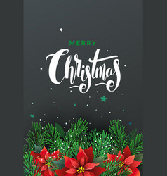 greeting card with christmas tree and poinsettia vector image vector image