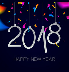 happy new year 2018 night party confetti card vector image vector image