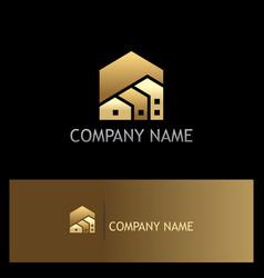 house realty shape gold logo vector image