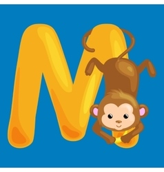 Letter m with animal monkey for kids abc education vector