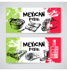 Mexican traditional food menu hand drawn sketch vector