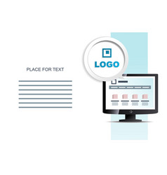 Monitor and place for information brochure vector